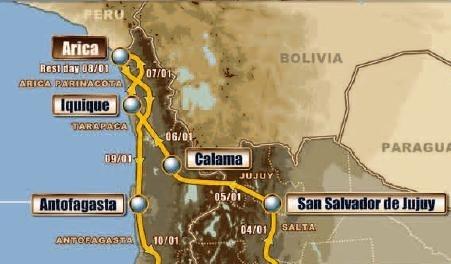 Dakar 2011 : L'étape 7 d'aujourd'hui, Arica-Antofagasta réduite