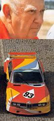 Alexandre Calder et la voiture qu'il a décorée.