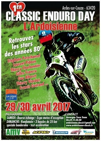 T. Charbonnier vous invite au 1er Classic Enduro Day les 29 et 30 avril.