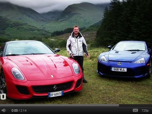 Evo : Lexus LFA contre Ferrari 599 GTO dans les montagnes écossaises