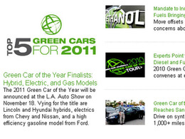Concours Green Car of the Year 2011 : zoom sur les 5 finalistes