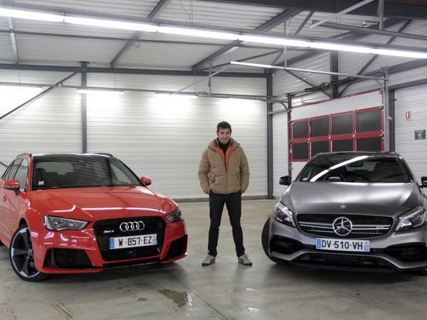 comparatif vid o audi rs3 vs mercedes a45 amg histoire de supr matie. Black Bedroom Furniture Sets. Home Design Ideas