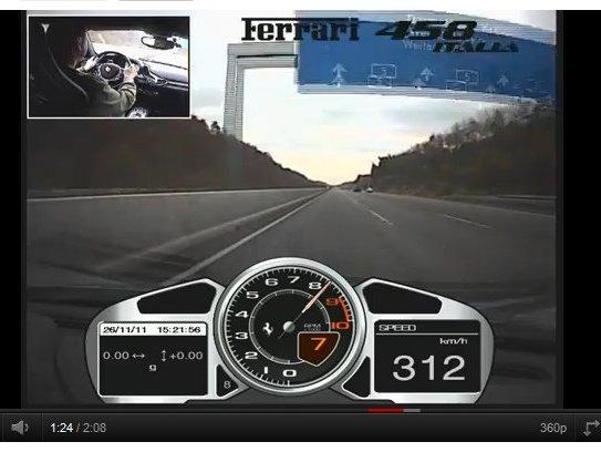 [vidéo] Plus de 310 km/h en Ferrari 458 Italia, ça parait simple