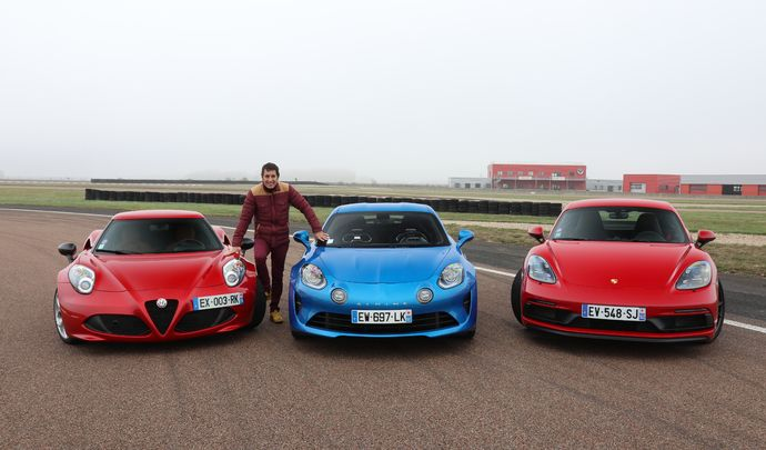 Comparatif vidéo - Les essais de Soheil Ayari - Alfa Romeo 4C vs Alpine A110 vs Porsche Cayman