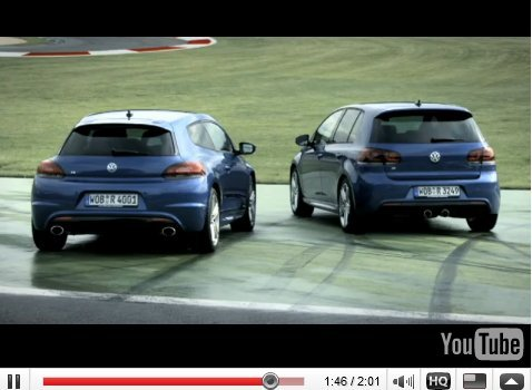 [vidéo pub] : fratricide virtuel, les VW Golf et Scirocco R en piste