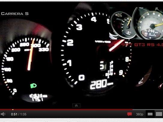 [vidéo] Comparatif d'un 0-300 km/h entre Porsche 991 Carrera S et 997 GT3 RS 4.0