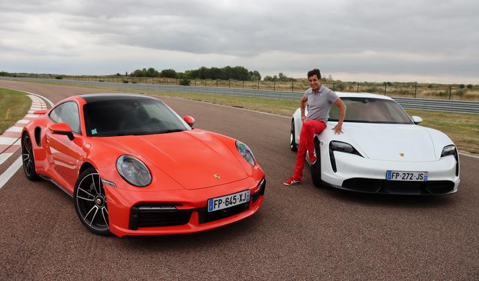Comparatif vidéo - Les essais de Soheil Ayari : Porsche 911 Turbo S VS Porsche Taycan turbo S : croqueuses de chrono