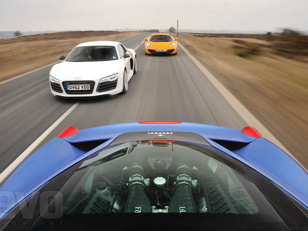 Audi R8 Plus, Ferrari 458 Italia, McLaren MP4-12C : Evo balade