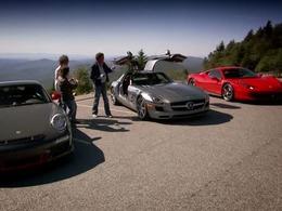 Top Gear spécial Noël : Ferrari 458 Italia vs Mercedes SLS AMG vs Porsche 911 GT3 RS à travers les USA