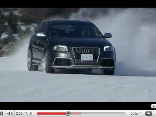 """[vidéo] l'Audi RS3 Sportback """"virgule"""" dans la neige"""