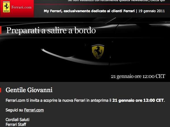 Présentation le 21 janvier pour la remplaçante de la Ferrari 612 Scaglietti