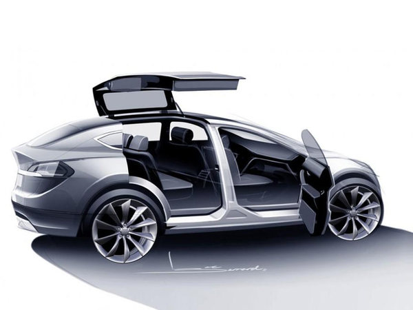 tesla model x 7 places 400 km d 39 autonomie et des portes faucon l 39 arri re. Black Bedroom Furniture Sets. Home Design Ideas