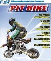 Pit Bike, Championnat de France 2012: les dates, les lieux