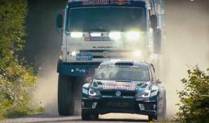 David contre Goliath: un camion du Dakar face àune Volkswagen Polo R WRC