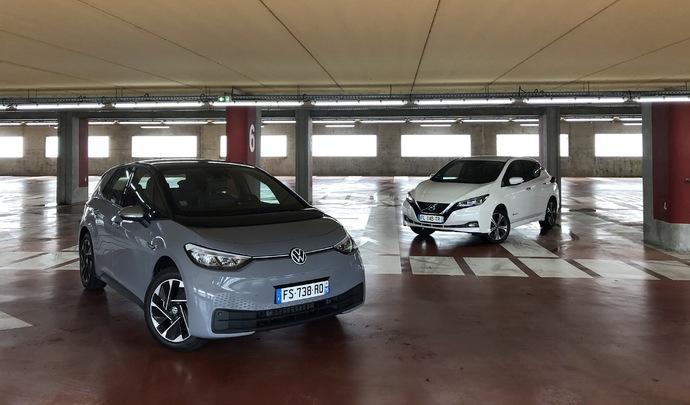 Comparatif vidéo - Volkswagen ID.3 vs Nissan Leaf e+ : duel sous tension