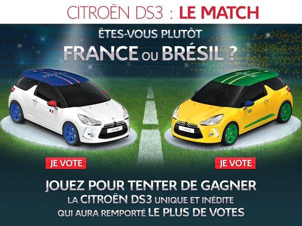 Citroën titille les supporters de foot : vous êtes plutôt DS3 France ou DS3 Brésil ?