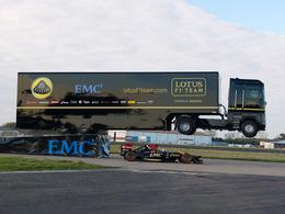 Insolite : une Lotus F1 passe sous un camion !