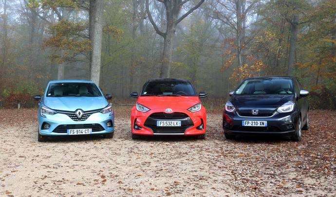 Test - Renault Clio E-Tech, Honda Jazz e:HEV et Toyota Yaris 116h, laquelle consomme le moins ?