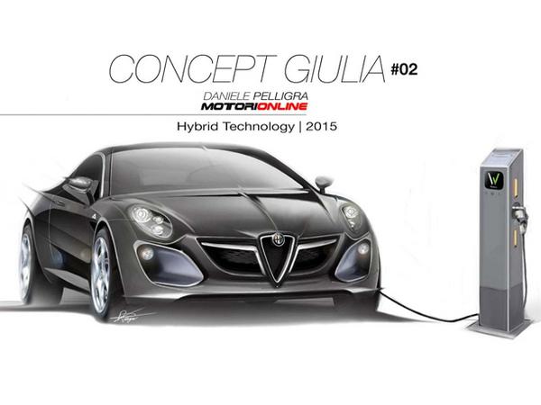 La future Alfa Romeo Giulia imaginée avec sa borne de recharge