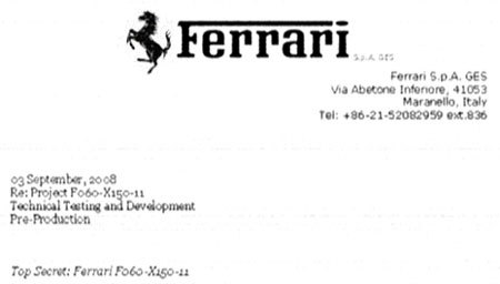 Future Ferrari FX150 : le document secret