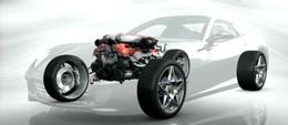 Gros plan sur les entrailles de la Ferrari 599 GTB Fiorano HY-KERS