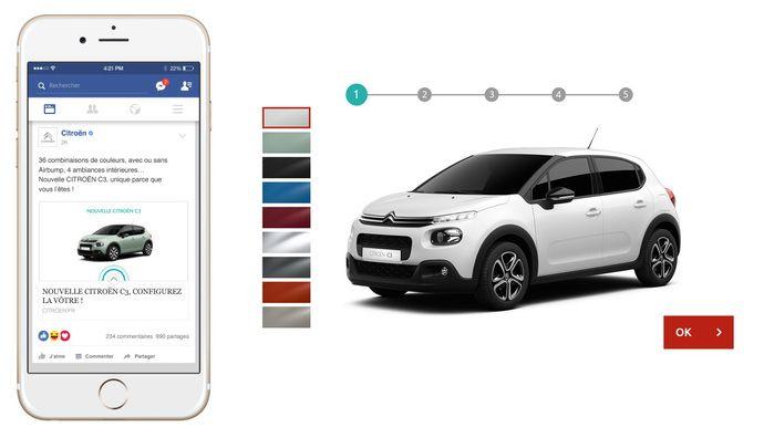 citroen lance un configurateur mobile sur facebook pour la nouvelle c3. Black Bedroom Furniture Sets. Home Design Ideas