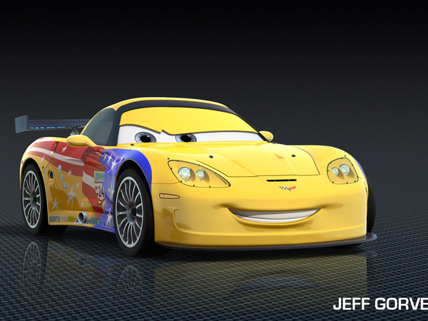 cars 2 avec jeff gorvette un mix de corvette et de jeff gordon. Black Bedroom Furniture Sets. Home Design Ideas
