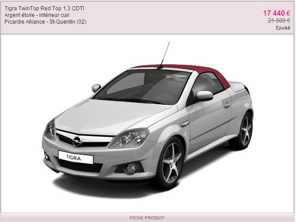 Des Opel Astra, GT et Tigra TwinTop en vente sur vente-privée.