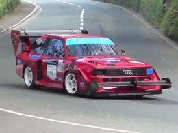 En Audi Quattro Sport Pikes Peak sur l'Ile of Man. Tout est normal