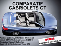Cabriolets GT : Audi A5, BMW Série 3 et  6, Infiniti G37 GT, Lexus IS 250 C, Mercedes Classe E, Saab 9-3 Griffin, Volvo C70