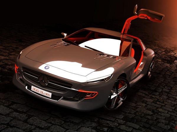 Mercedes-Benz 300 SL Gullwing Coupe et Roadster Design Studies par Slimane Toubal