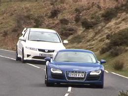 [vidéo] l'essai bizarre : Autocar oppose l'Audi R8 V10 et la Honda Civic Type R Mugen