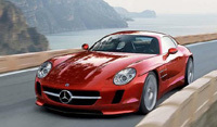 Revival 300 SL par Auto Motor und Sport sur fond de future SLC...