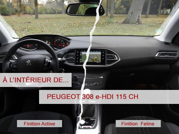 A l'intérieur de la Peugeot 308 e-HDI 115 ch