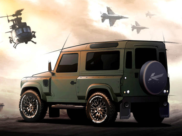 Kahn design militarise le land rover defender for Garage land rover nancy