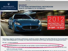 Mondial de Paris 2012 - Une toute nouvelle Maserati attendue