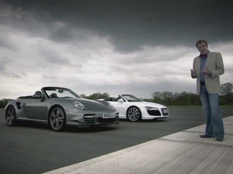 Top Gear : Audi R8 V10 Spyder vs Porsche 911 Turbo cabriolet et un challenge de camping-cars maison...
