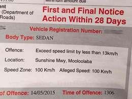 Insolite : il reçoit une amende d'excès de vitesse indiquant qu'il roulait correctement