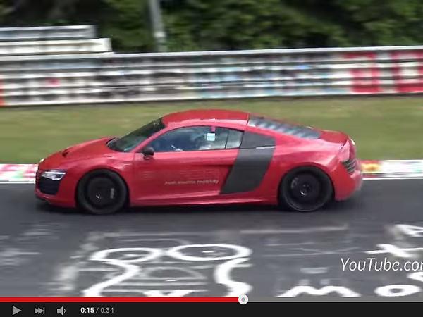 Surprise : l'Audi R8 e-tron crisse sur le Ring