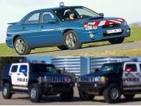 La gendarmerie française en Subaru, la police américaine en Hummer.