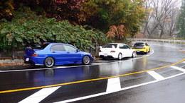3 Mitsubishi Lancer Evolution dans leur milieu naturel
