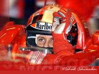 Schumacher en piste sur la Ferrari F1 2007