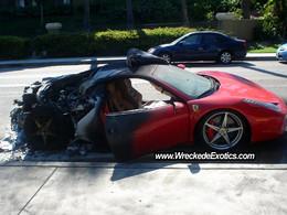La Ferrari 458 Italia brulée du jour : cette fois, une Américaine