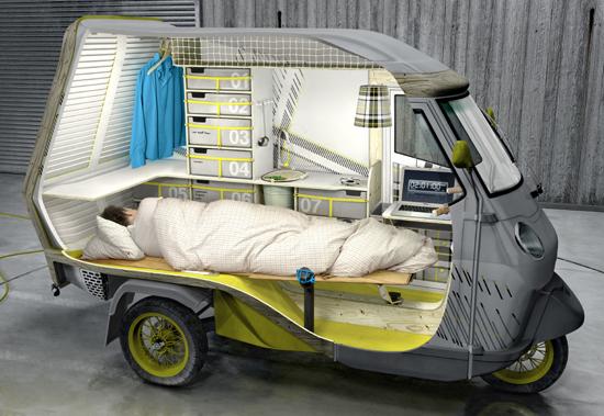 Surréaliste Un Piaggio APE transformé en (mini) camping-car AZ-76