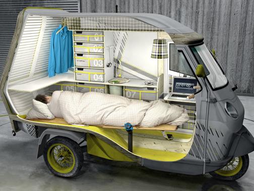 un piaggio ape transform en mini camping car. Black Bedroom Furniture Sets. Home Design Ideas