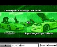 La vidéo du jour : Lamborghini Murciélago Roadster Twin Turbo vs Lamborghini Murciélago de série, Ford GT tunée et Dodge Viper SRT-10 compressée !