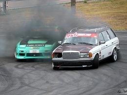 Drift : un vieux break Mercedes diesel avec un turbo de camion