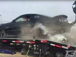 Crash : il éclate un pneu sur un banc de puissance