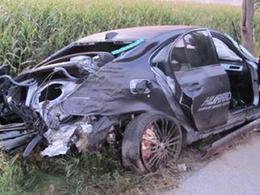 Une BMW M5 G-Power Hurricane totalement crashée par un conducteur français