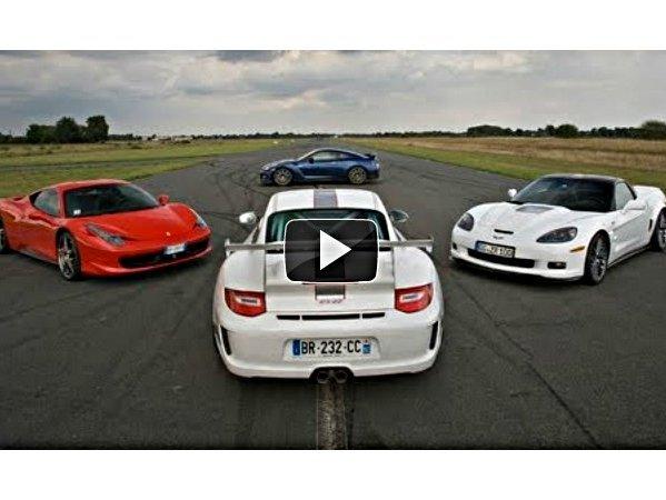 Supertest Motorsport : Nissan GT-R, Ferrari 458, Porsche 911 GT3 RS 4.0, Corvette ZR1, qui gagne sur un tour chrono ?